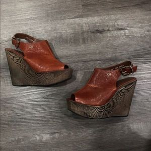 Leather wedges size 6